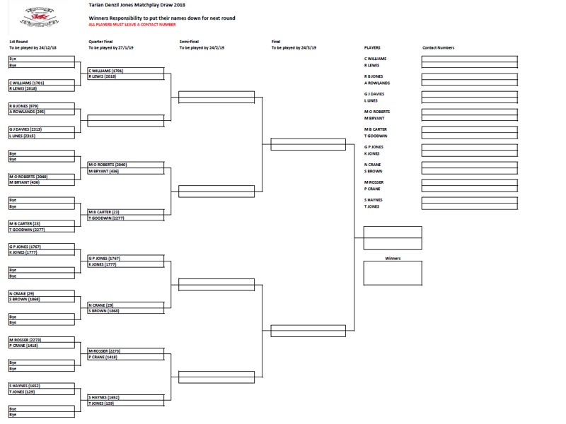 Tarian Denzil Jones Matchplay Draw